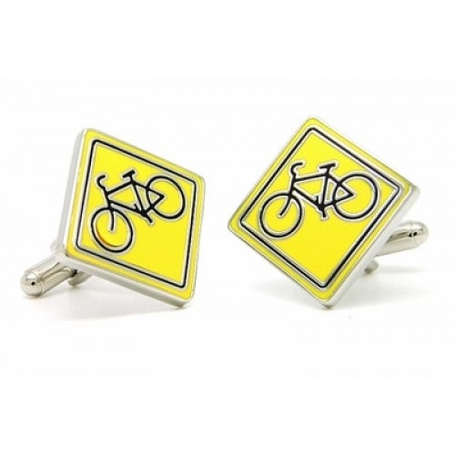 Share The Road Cycling Bike Sports Athlete Cyclist Street Signs Cufflinks