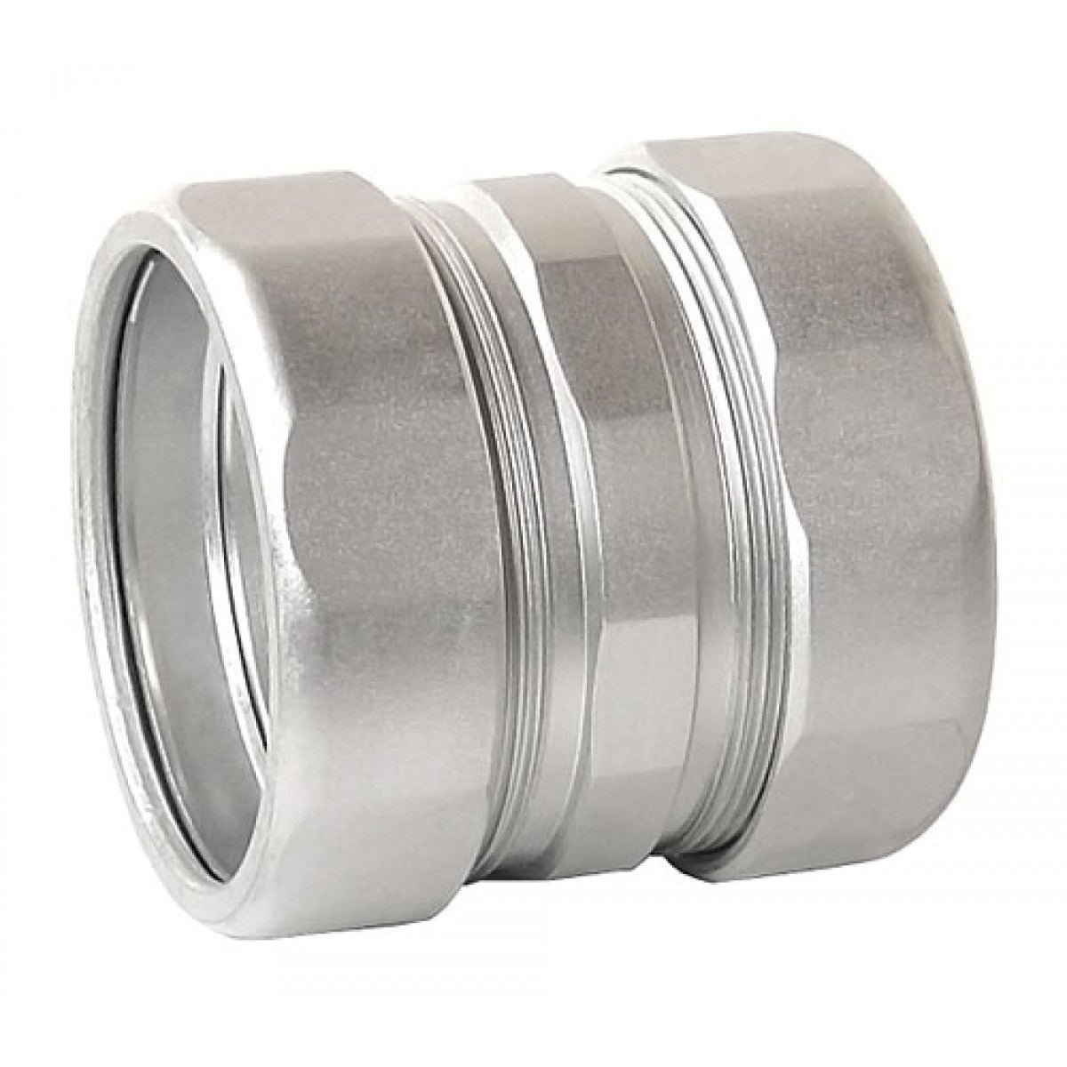 2 Pcs, 2 in. Zinc Plated Steel Compression Coupling, Zinc Plated Steel