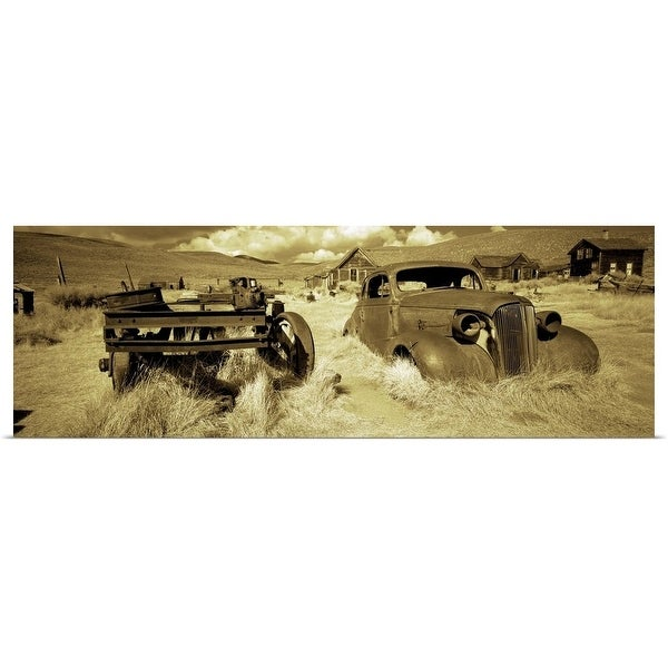 """""""Abandoned car in a ghost town, Bodie Ghost Town, Mono County, California"""" Poster Print"""