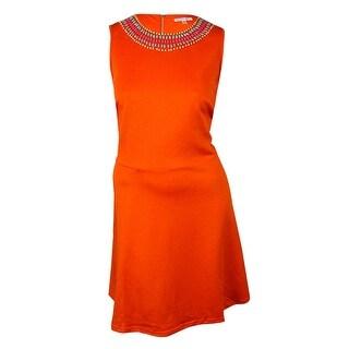 Spense Women's Embellished Scuba-Knit A-Line Dress
