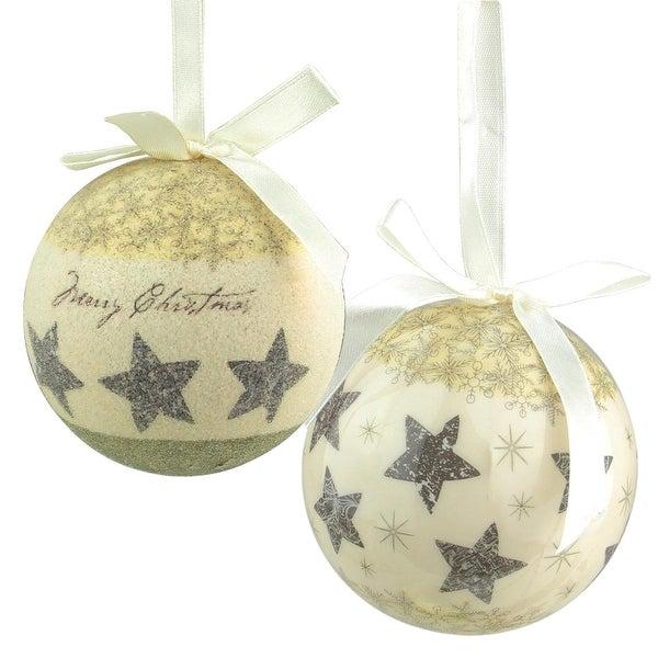 "6-Piece Cream White Merry Christmas and Stars Decoupage Shatterproof Ball Ornament Set 2.75"""