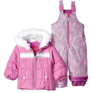 London Fog Girls 12-24 Months Stripe Geo Snowsuit