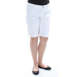 STYLE & COMPANY $34 Womens New 1431 White Pocketed Bermuda Jeans 12 Petites B+B