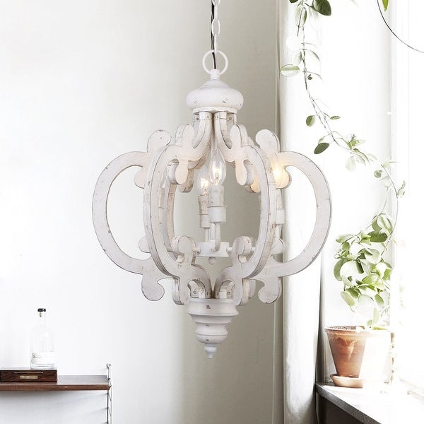6-light Distressed Antique White Wooden Chandelier. Opens flyout.
