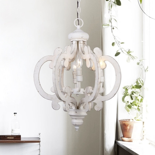 Farmhouse 6-light Distressed White Wooden Chandelier. Opens flyout.