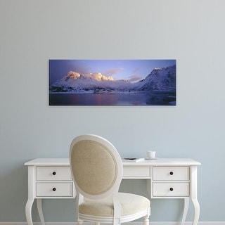Easy Art Prints Panoramic Images's 'Mountains along a lake, Lofoten, Nordland County, Norway' Premium Canvas Art