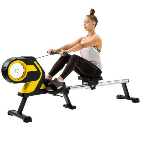 """46"""" Slide Rail Magnetic Folding Rowing Machine with LCD Monitor"""