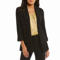 Kasper Black Womens Size 14 Shimmer Sequin Textured Tweed Jacket