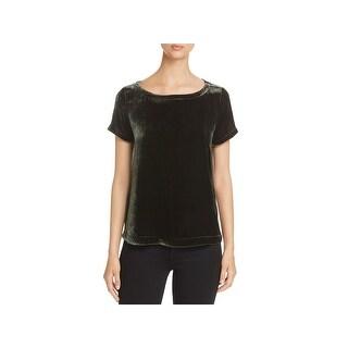 Eileen Fisher Womens Petites Dress Top Silk Velvet
