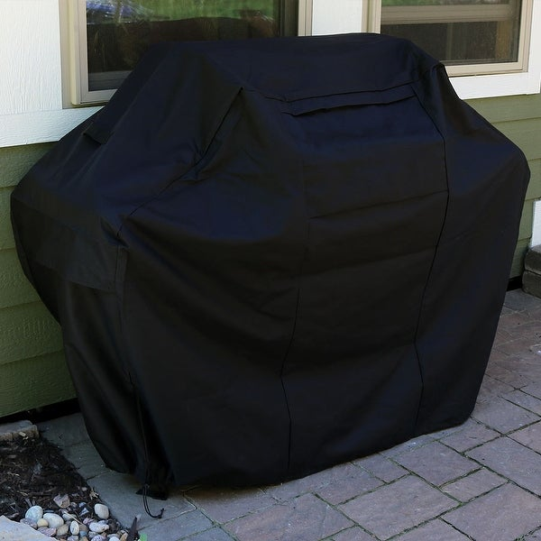 Sunnydaze Heavy-Duty 300D Polyester Waterproof Black Grill Cover - 72-Inch - Black|Black