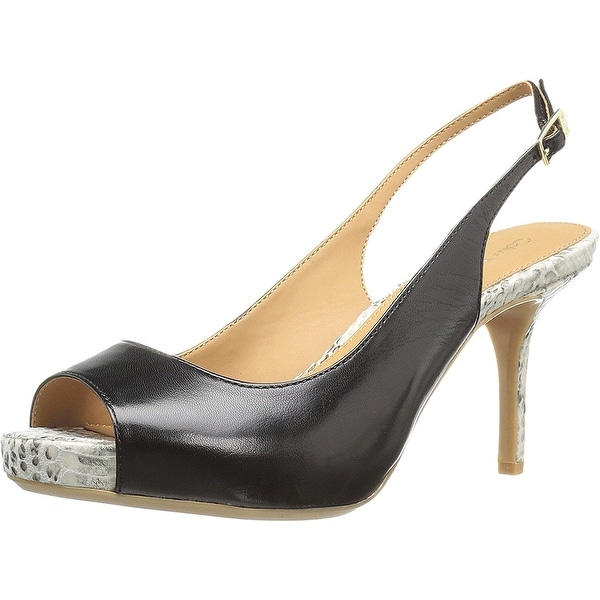 Calvin Klein Womens GINY Peep Toe SlingBack Classic Pumps, Black, Size 7.5
