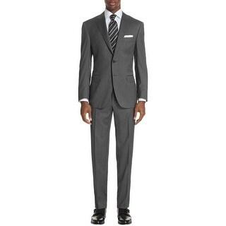 Hart Schaffner Marx Mens New York Classic Fit Check Wool Grey Suit 42L Pants 38W