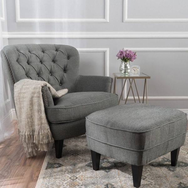 Tafton Tufted Club Chair with Ottoman by Christopher Knight Home. Opens flyout.