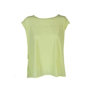 Two By Vince Camuto Pale Lime Green High-Low Contrast Top M