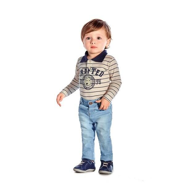 Baby Boy Long Sleeve Bodysuit Striped Graphic Jumpsuit Pulla Bulla 3-12 Months