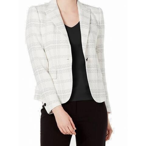 Anne Klein Womens Blazer White Black Size 14 Plaid Peak Lapel Jacket