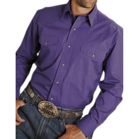 Roper Western Shirt Mens L/S Solid Snap Tall Grape