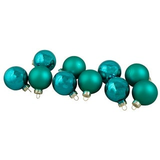 """Link to 10ct Turquoise Green 2-Finish Glass Christmas Ball Ornaments 1.75"""" (44.5mm) Similar Items in Christmas Decorations"""