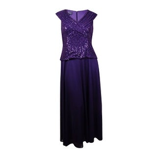 Patra Women's Sleeveless Sequin Lace Popover V-Neck Chiffon Dress - Plum