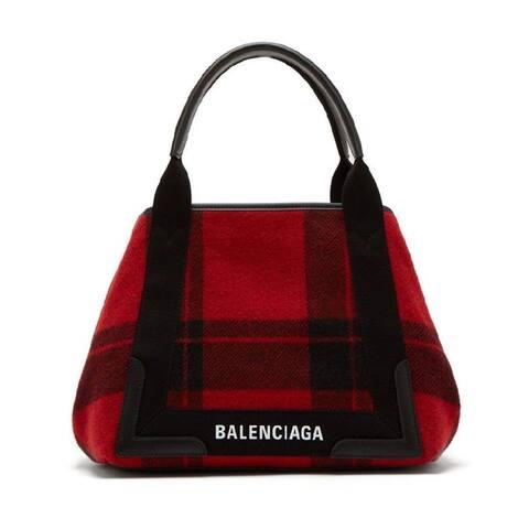 Balenciaga Cabas Pouchette Red Black Leather Handbag