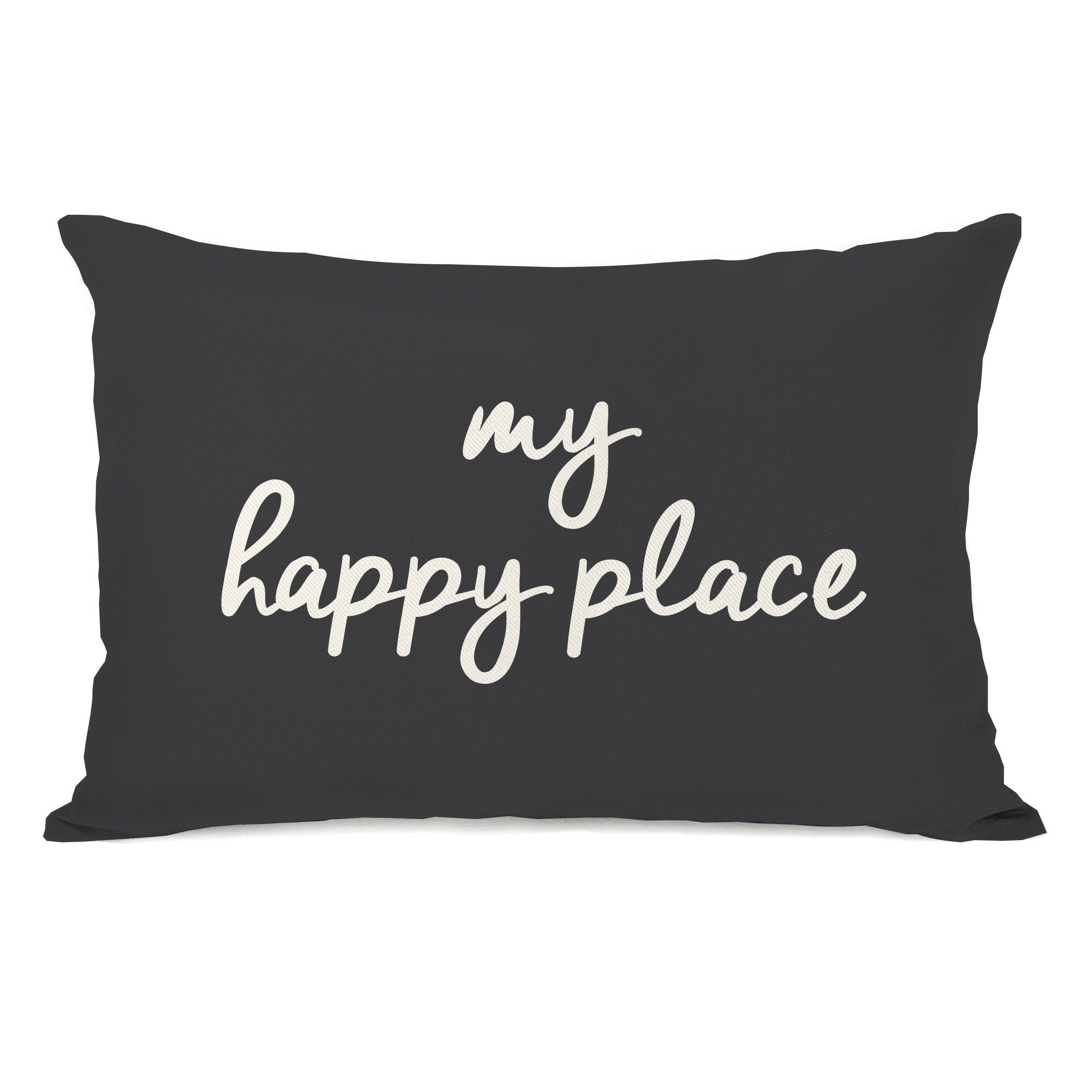 My Happy Place Charcoal Lumbar Pillow Overstock 31286126
