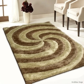 Allstar Brown / Beige Shaggy Area Rug with 3D Spiral Design. Contemporary Formal Casual Hand Tufted (5' x 7')