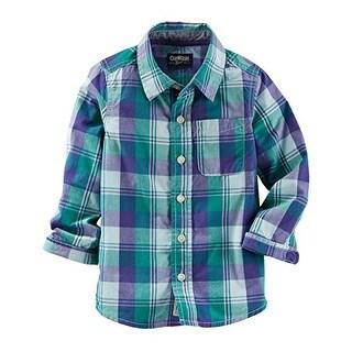 OshKosh B'gosh Big Boys' Plaid Button-Front L/S Shirt, Green/Blue, 4 Kids