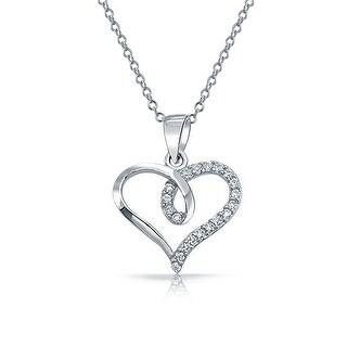 Pave Cubic Zirconia Accent CZ Bridal Ribbon Twist Heart Shape Pendant Necklace For Women Girlfriend 925 Sterling Silver