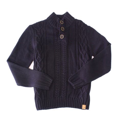 Weatherproof Men Sweater Blue Size Large L Mock Neck Cable Knit Military