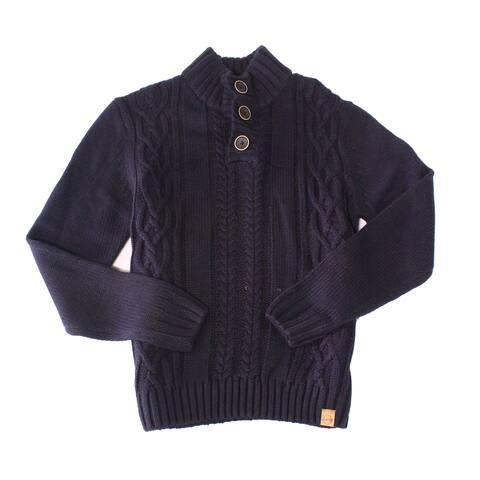 Weatherproof Mens Sweater Deep Blue Size 3XL Mock Neck Cable-Knit