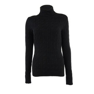 Charter Club Women's Cotton Cable Turtleneck Sweater