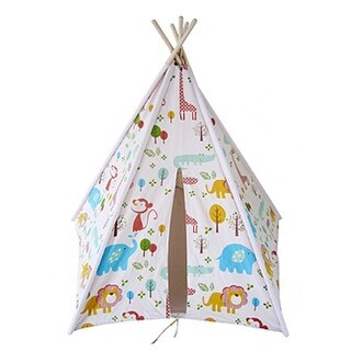 Children's Colorful Animals at Camp Cotton Canvas Teepee Tent 72 Inch