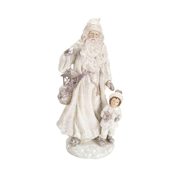 "14"" Winter White Glitter Old World Santa Holding Lantern Christmas Decoration"