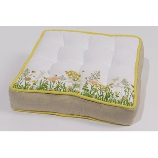 """16"""" Tea Garden Taupe and Yellow Floral Print Square Indoor Chair Cushion"""