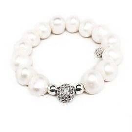 Freshwater Pearl 'Radiance' stretch bracelet 14k Over Sterling Silver