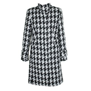 Calvin Klein Black White Wool-Blend Houndstooth Walker Coat - 8