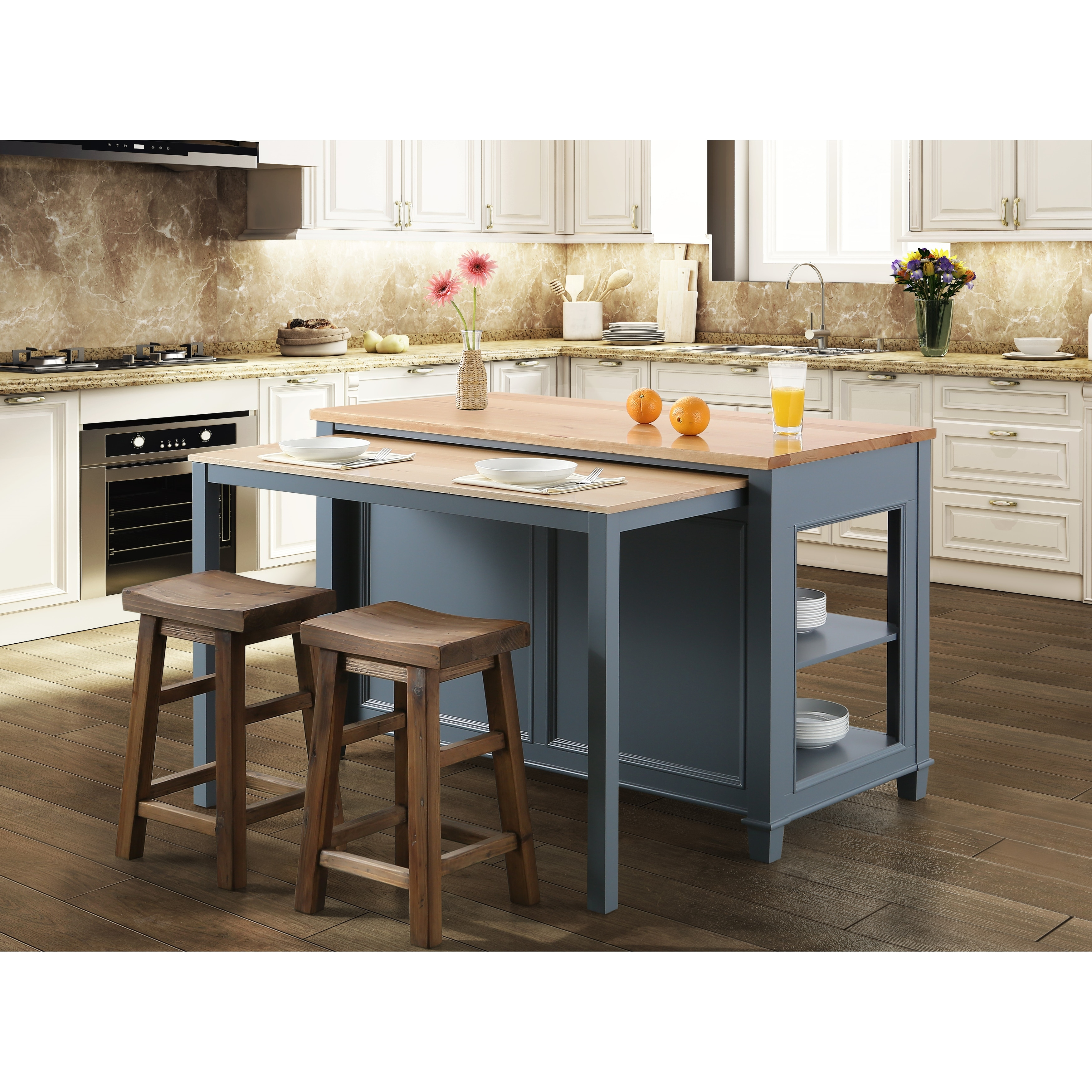 Medley 54 Inch Grey Kitchen Island With Slide Out Table N A Overstock 29108636