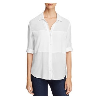 Side Stitch Womens Button-Down Top Sheer Adjustable Sleeves