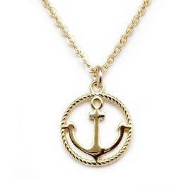 "Julieta Jewelry Anchor Gold Charm 16"" Necklace"