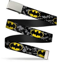 Blank Chrome  Buckle Bat Signals Stacked Repeat Gray Black Yellow Web Belt