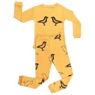 Elowel Little Girls Yellow Bird Print Long Sleeve Cotton 2 Pc Pajama Set