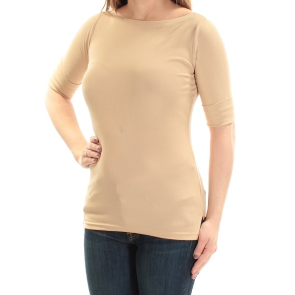 8e7fd71fa4 Shop RALPH LAUREN Womens Beige Short Sleeve Boat Neck Top Size: 2XS - Free  Shipping On Orders Over $45 - Overstock - 24057727