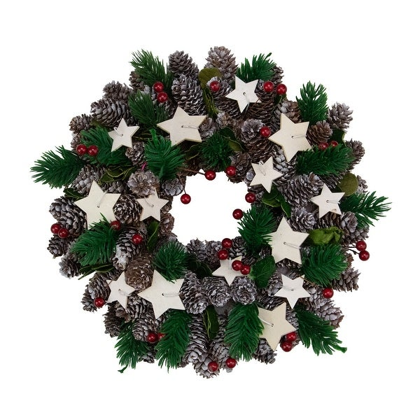 """10"""" Pine Cone with Berries and Stars Artificial Christmas Wreath - Unlit - Brown"""