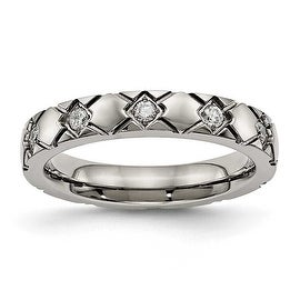 Titanium Polished Criss Cross Grooved CZ Ring (4 mm)