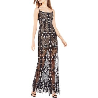 BCBG Max Azria Womens Maxi Dress Lace Overlay Adjustable Straps