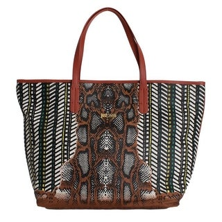 Cavalli Multicolor Brown Snakeprint Shopping Tote Bag