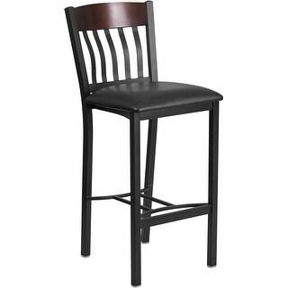 "Dyersburg 31"" High Vertical Back Black Metal and Walnut Wood Restaurant Barstool with Black Vinyl Seat"