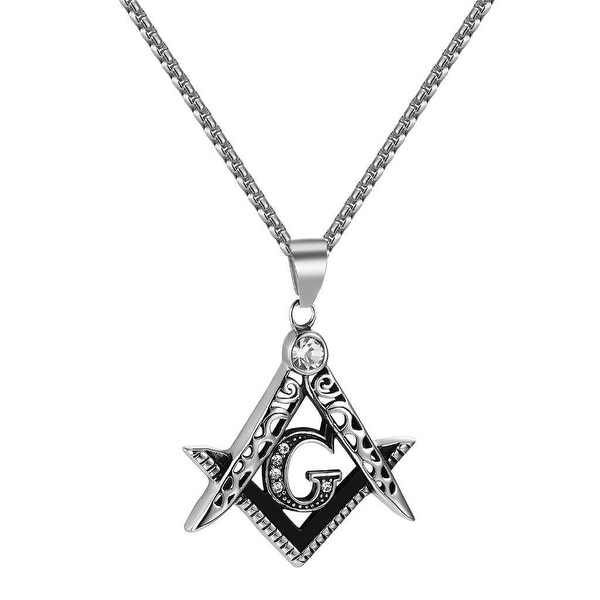 Masonic G Pendant Compass Square Stainless Steel Free Box Necklace Mens Elegant