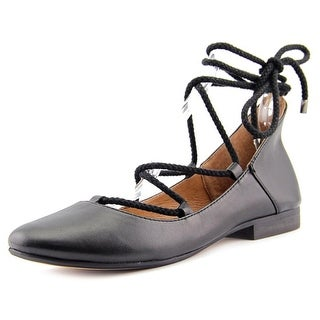 Kelsi Dagger Deandrars Women Round Toe Leather Black Flats
