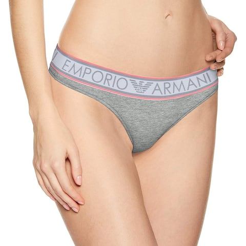 Emporio Armani Women's Stretch Cotton Thong, Melange, Melange Grey, Size Large